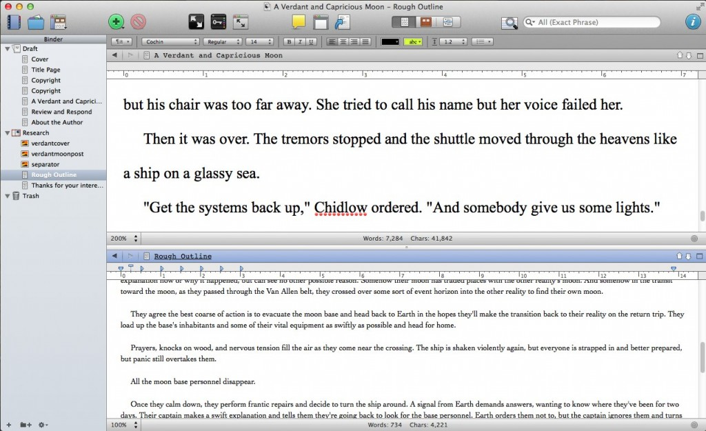 splitscreen 1024x625 Scrivener Tip: Using Document Notes in Full Screen Mode